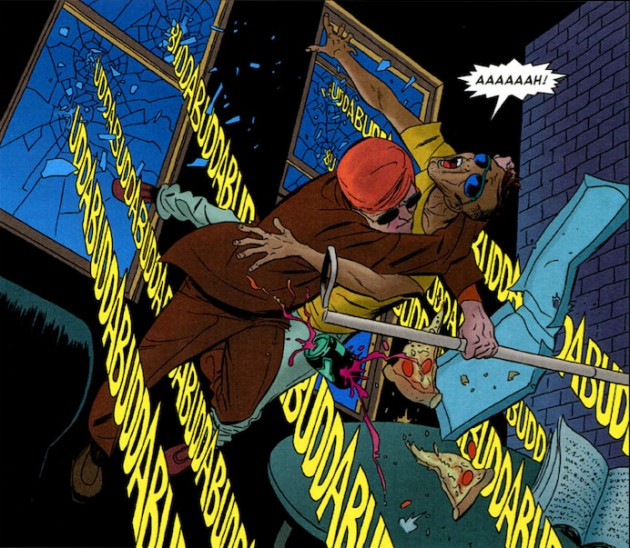 Matt and Austin Cao being shot at, from Daredevil #5