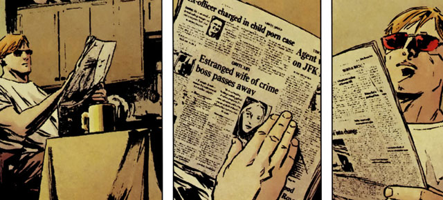 Matt is reading the newspaper in an issue of Daredevil from the Ed Brubaker and Michael Lark run.