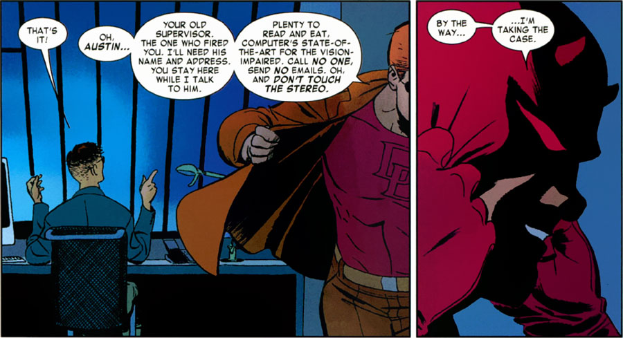Matt talks about his computer, from Daredevil #5 by Mark Waid and Marcos Martín