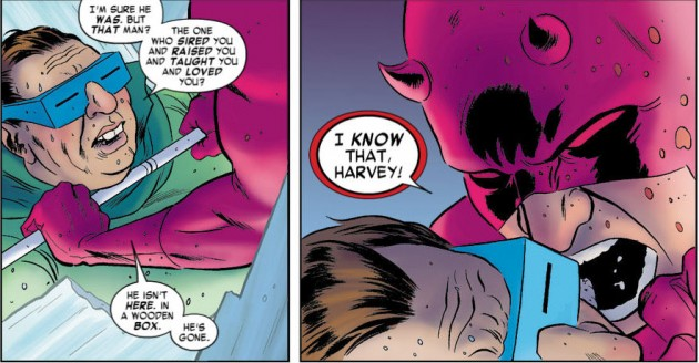 Daredevil yells at Mole Man, from Daredevil #10, by Mark Waid and Paolo Rivera