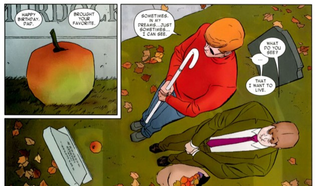 Matt talks to Foggy about his dream, from Daredevil #1, by Mark Waid and Marcos Martín