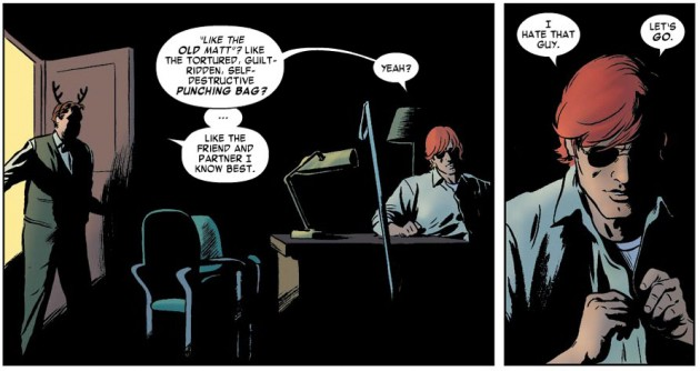 Matt sits in his office, in Daredevil #7, by Mark Waid and Paolo Rivera