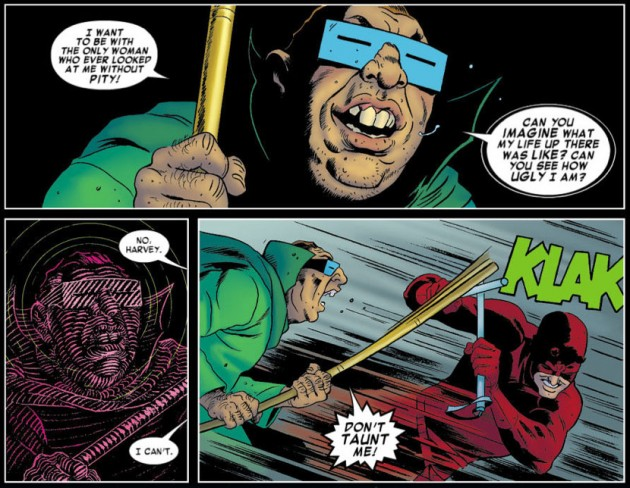 "Daredevil ""sees"" Mole Man with his radar sense, from Daredevil #10, by Mark Waid and Paolo Rivera"