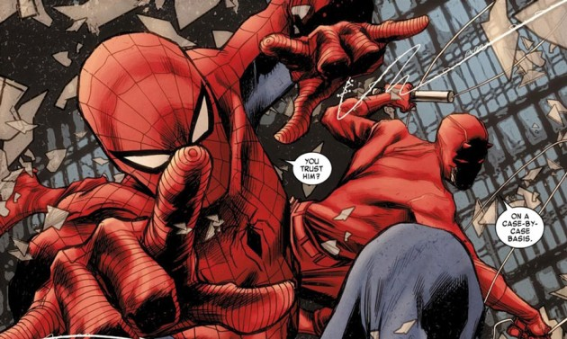 Spider-Man and Daredevil in action, from Daredevil #11 by Mark Waid and Marco Checchetto