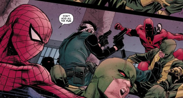 Full-on action scene, from Daredevil #11 by Mark Waid and Marco Checchetto