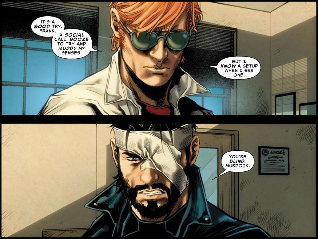 Matt talks to Frank Castle, from Avenging Spider-Man #6 by Waid, Rucka and Checchetto