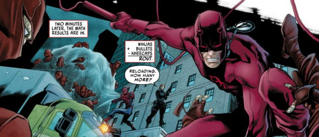 Daredevil, Spider-Man and Punisher fight ninjas, from Avenging Spider-Man #6 by Waid, Rucka and Checchetto