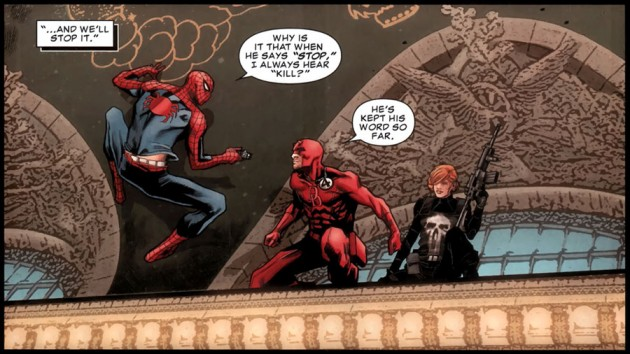 Spider-Man talks to Daredevil and Cole, from Punisher #10 by Greg Rucka and Marco Checchetto