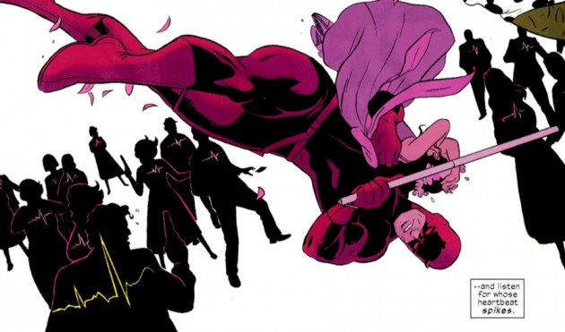 Silhouettes of people, from Daredevil #1, by Mark Waid and Paolo Rivera