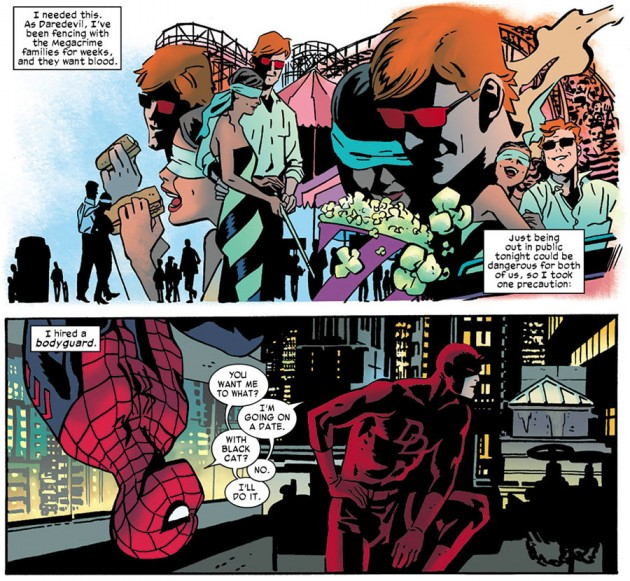 Matt with Kirsten and Daredevil with Spider-Man, from Daredevil #12 by Mark Waid and Chris Samnee