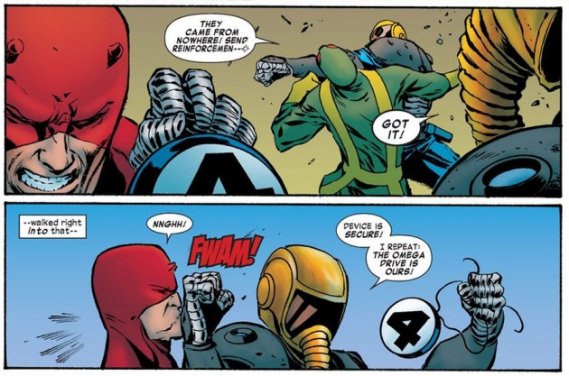 Daredevil fights Megacrime, from Daredevil #13 by Mark Waid and Khoi Pham