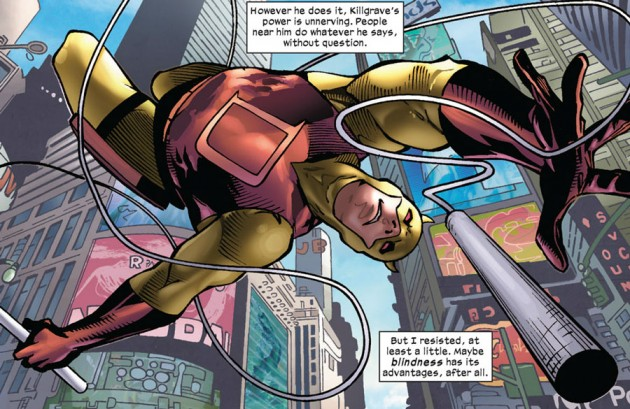 Daredevil swings through the city, from Daredevil: Season One, by Antony Johnston and Wellinton Alves