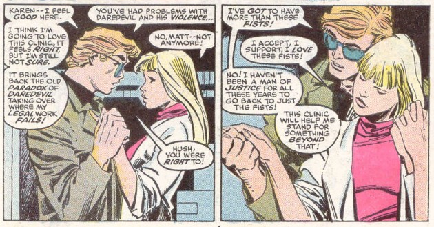 Matt as almost-blond, by Rick Leonardi. From Daredevil #249, written by Ann Nocenti