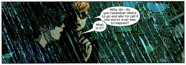 Matt and Milla, from Daredevil #56 (volume 2), by Brian Bendis and Alex Maleev