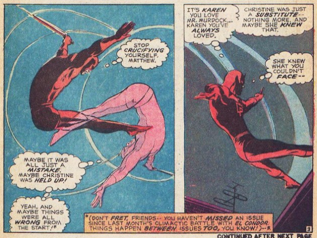 Daredevil has been stood up by a woman named Christine, from Daredevil #77 by Gerry Conway and Gene Colan