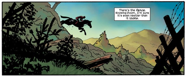 Daredevil rides a horse, from Daredevil #14 by Mark Waid and Chris Samnee