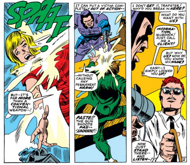 Foggy versus PASTE!, from Daredevil #35 by Stan Lee and Gene Colan