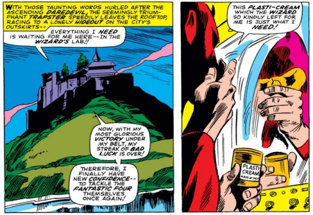 Trapster disguises himself as Daredevil using plasti-cream, from Daredevil #35 by Stan Lee and Gene Colan