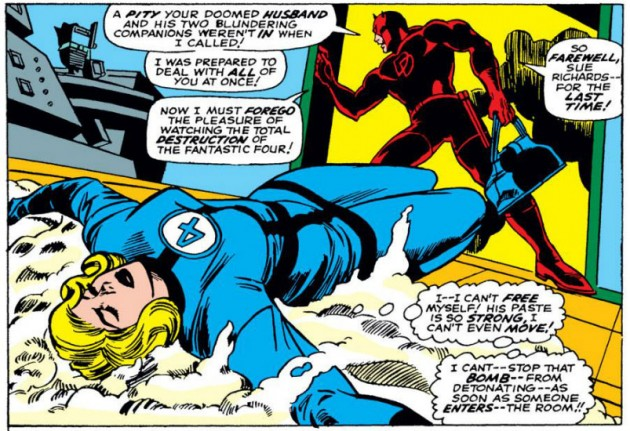 Sue trapped in paste, from Daredevil #35 by Stan Lee and Gene Colan