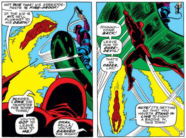 The Human Torch versus asbestos paste, from Daredevil #36 by Stan Lee and Gene Colan