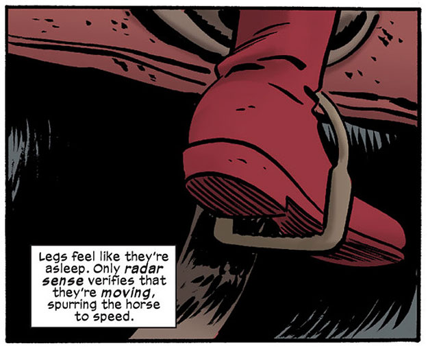 Daredevil is losing his sense of proprioception, from Daredevil #14 by Mark Waid and Chris Samnee