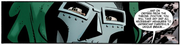 Dr Doom peering from a painting, from Daredevil #15 by Mark Waid and Chris Samnee