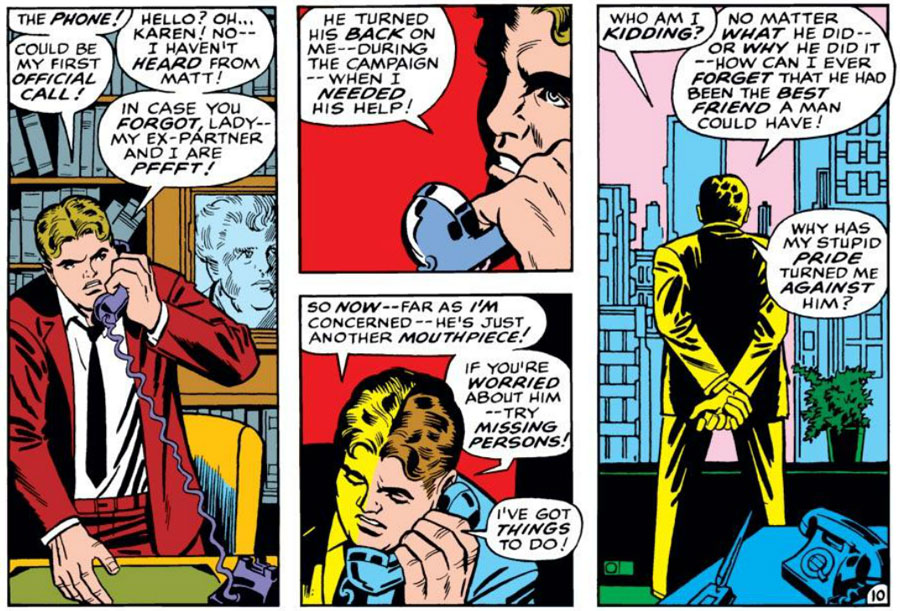 Foggy thinks about Matt, from Daredevil #50, by Stan Lee and Barry Smith