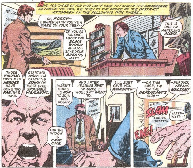 Matt and Foggy fight, from Daredevil #83, by Gerry Conway and Alan Weiss