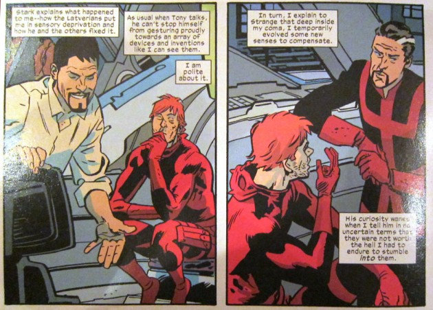 Matt indulges Tony, from Daredevil #16, by Mark Waid and Chris Samnee
