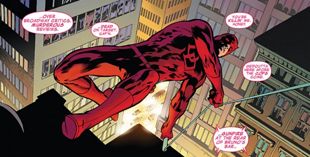 Daredevil swinging across town, from Daredevil Annual (2012), by Alan Davis