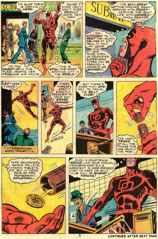Daredevil keeps subway tokens in his billy club, from Daredevil #119 by Tony Isabella and Bob Brown