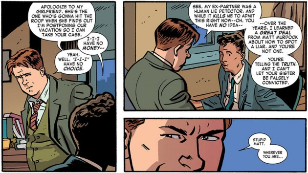 Foggy takes on a new client, from Daredevil #18 by Mark Waid and Chris Samnee