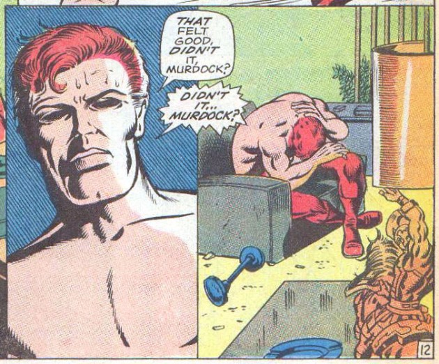 Matt's eyes are revealed (sort of) in Daredevil #51 (vol 1), by Roy Thomas and Barry Smith