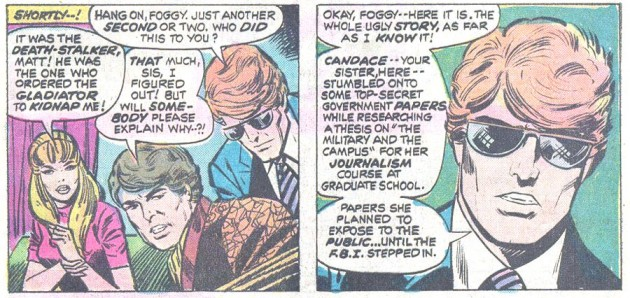 Matt's glasses as seen in Daredevil #115, by Steve Gerber and Bob Brown