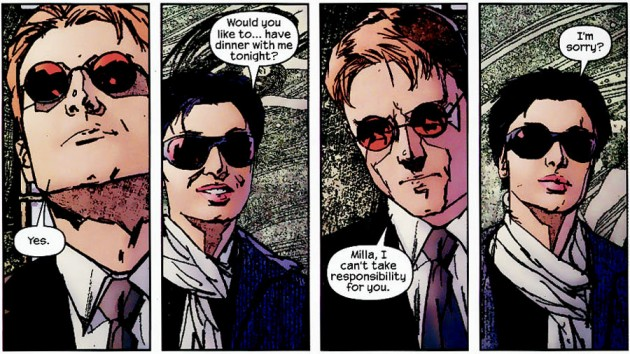 Matt's glasses as seen in Daredevil #43 (vol 2), by Brian Michael Bendis and Alex Maleev