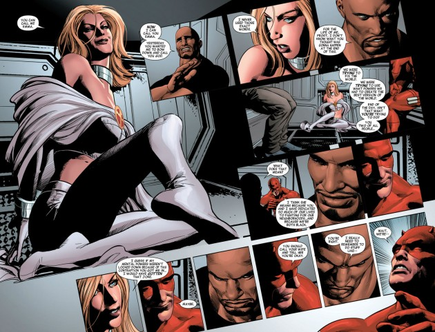 Emma Frost, Luke Cage and Daredevil, New Avengers #30, by Brian Bendis and Mike Deodato