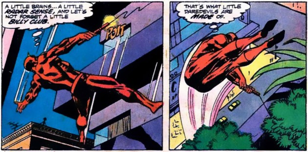 Daredevil comments on himself, as seen in Daredevil #143, by Marv Wolfman and Bob Brown