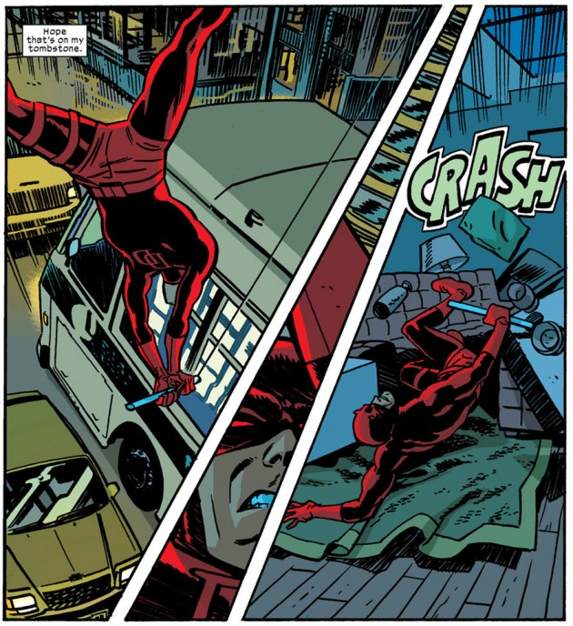 Daredevil crashes into his apartment, from Daredevil #19, by Mark Waid and Chris Samnee