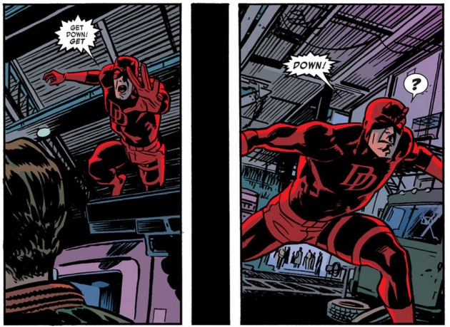 Daredevil is transported through space, from Daredevil #19 by Mark Waid and Chris Samnee