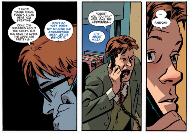 Foggy and Matt on the phone, from Daredevil #18 by Mark Waid and Chris Samnee