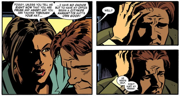 Foggy spills the beans on Daredevil, from Daredevil #19 by Mark Waid and Chris Samnee