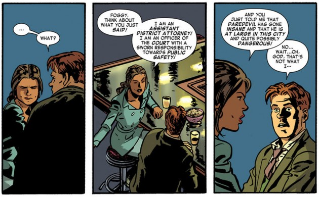 Foggy talks to Kirsten, from Daredevil #19 by Mark Waid and Chris Samnee