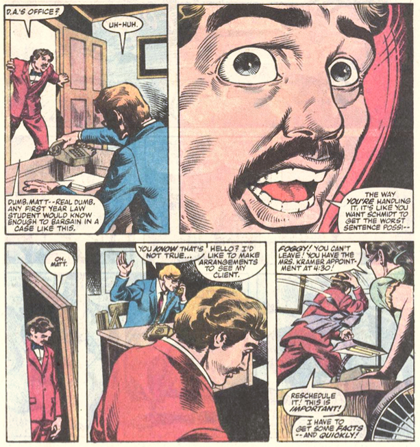 Foggy criticizes Matt's judgment, from Daredevil #209, by Steven Grant and Geof Isherwood