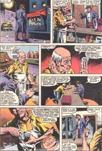 Foggy goes to Matt's neighborhood, from Daredevil #209, by Steven Grant and Geof Isherwood