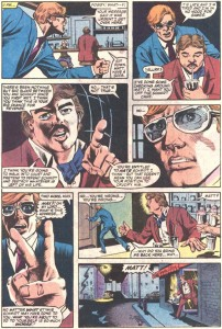 Matt arrives at Max's, from Daredevil #209, by Steven Grant and Geof Isherwood