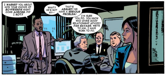 Kirsten is ridiculed by her co-workers, from Daredevil #20 by Mark Waid and Chris Samnee