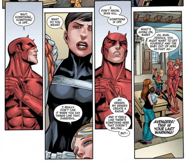 Panels from New Avengers #32, by Brian Michael Bendis and Carlos Pacheco