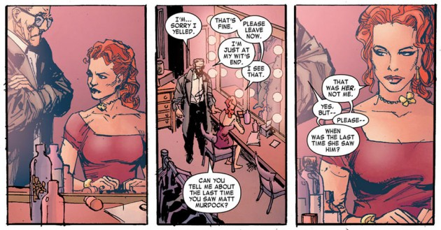 "Ben speaks with ""Typhoid"" Mary, from Daredevil End of Days #3, by Brian Bendis, David Mack and Klaus Janson"