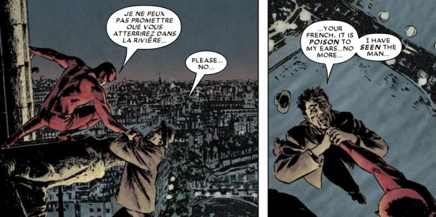 Daredevil speaks French in Daredevil #90 by Ed Brubaker and Michael Lark