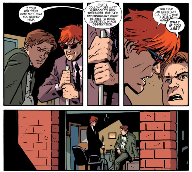Matt and Foggy fighting, Daredevil #21 by Mark Waid and Chris Samnee